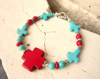 Red and Turquoise Bracelet.  Turquoise and Red Cross Bracelet. Turquoise Jewelry.  Red Coral Jewelry. Red Coral and Turquoise Jewelry