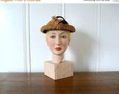 SALE 1950s straw hat . vintage 50s mid century hat