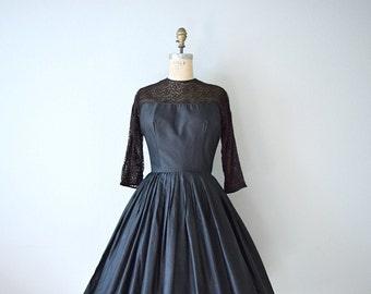 1950s black dress . vintage 50s cotton and lace dress
