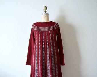 1970s knit dress . vintage 70s striped knit dress