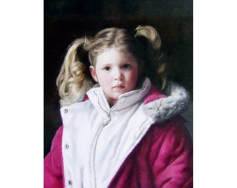 pretty in pink, detailed oil painting of little girl in puffer coat, one of a kind, original oil painting, framed, on canvas, Kerry Brooks