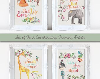 Set of 4 Downloadable Framing Prints, cute watercolor animals