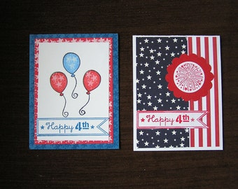 Handmade Greeting Cards, 4th Of July, Flag and Balloons, Colorful and Patriotic