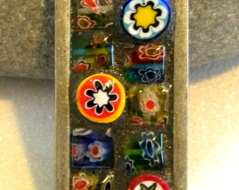 NEW - Mosaic Pendant - COLORFUL Millefiori and Mini Square Beads -  Jewelry Necklace