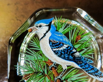 Octagonal Glass Paperweight with Blue Jay Bird in Pine - by Westmoreland - Nature Theme Woman's Desk Decor - Gift for Bird Watcher