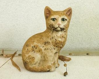 Vintage Chalkware Cat by Walnut Ridge - Rustic Primitive Fall Decor - Folk Art Cat Figurine - Halloween Cat - Country Farmhouse Decor
