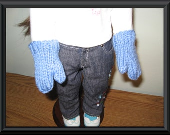 """Hand Knit blue mittens for 18"""" 18 inch dolls will fit American Girl"""