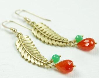 Gold Leaf Earrings Fall Gemstone Jewelry Orange Carnelian Green Chrysoprase Brass Drop Dangle Autumn Natural Stone Beaded Artisan Handmade
