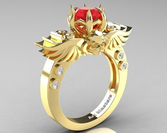 Art Masters Classic Winged Skull 14K Yellow Gold 1.0 Ct Firecracker Ruby Diamond Solitaire Engagement Ring R613-14KYGDR