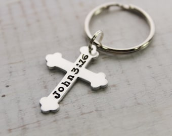 Personalized Cross Key Chain- Hand Stamped Key Chain- Silver Key Chain- Baptism Gifts