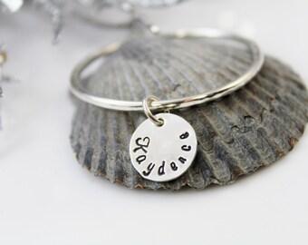 Baby Bangle Bracelet - Personalized Bracelet - Hand Stamped Bangle Bracelet - Sterling Silver Bracelet - Charm Bracelet