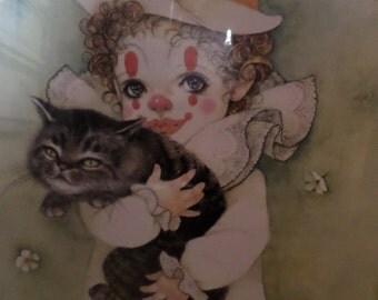 Boy/CLOWN/Cat/Mira Fujita/Print/CHILD CLOWN With Cat/No Frame/Very Rare