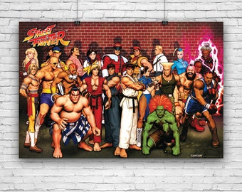 """Street Fighter Characters, Ken, Ryu, Retsu, Guile, Blanka, and More, Art Poster - 24""""x36"""""""