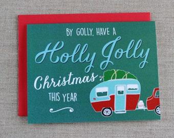 Christmas Card, Holiday Card, Vintage Camper Card, Card for Christmas, Holly Jolly Card, Illustrated Card