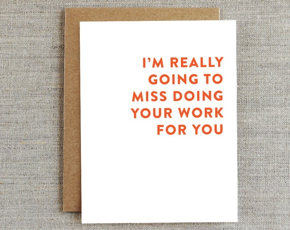 Funny Coworker Card Card for Co-worker Goodbye Card Work