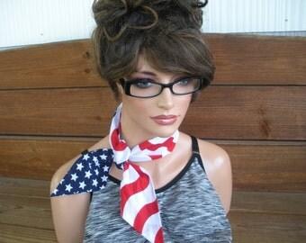 Ameican Flag Scarf 4th of July Scarf Accessories Women Scarf Summer Scarf Dolly Bow Headband Summer Headband Bandana - Ready to ship