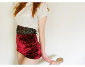 Red silk velvet shorts high waisted
