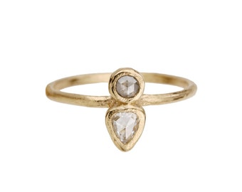 Two stone ring. Grey diamond. Pear rose cut diamond. Toast.