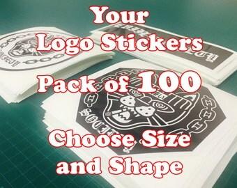Custom Logo Stickers Pack of 100 Your Logo Design Vinyl Sticker Prints MM-2439