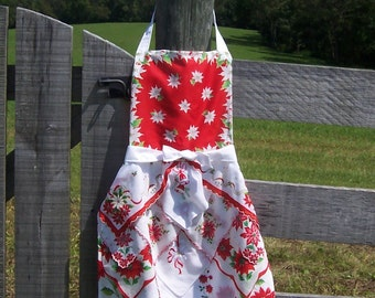 Christmas Apron from Vintage Handkerchiefs Farmhouse Style Hostess Gift Cottage Kitchen Chic Upcycled Hankies in Red White Green
