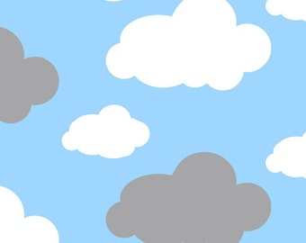 Baby Blue Clouds by David Textiles Anti Pill Fleece Fabric by the yard