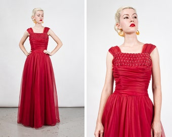 Vintage 1950s Crimson Red Chiffon Full Length Gown