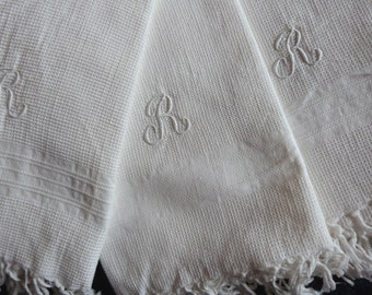 12 Antique French linen towels white monogrammed R kitchen dish bath towels in beehive weave w monograms tea towels from France w fringes