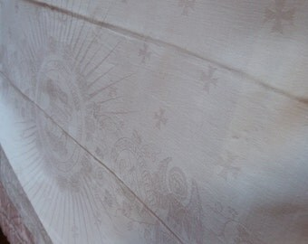 Large antique French religious damask altar frontal cloth antependium w angels, easter lamb, cross, crucifix, floral design, church linens