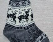 Norwegian Scandinavian Hand Crafted 100% wool SOCKS, size Medium  , folk art, REINDEER, Fair Isle