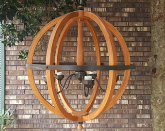 """24"""" Distressed Stained brown Wood Orb Chandelier Sphere Wood Chandelier Rustic Farmhouse"""