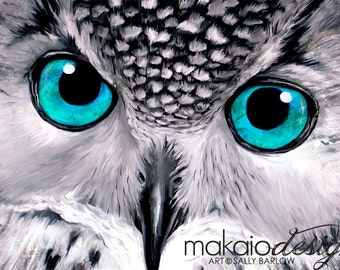 """Owl Painting """"Aqua"""" Black and White with Pop of Color Mixed Media Canvas Print"""