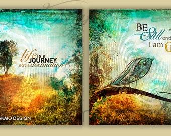 Life Is a Journey Tree Art, Be Still Bird Art, Christian Wall Art Set