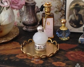 Milkglass and Rhinestone Perfume Bottle for Dollhouse