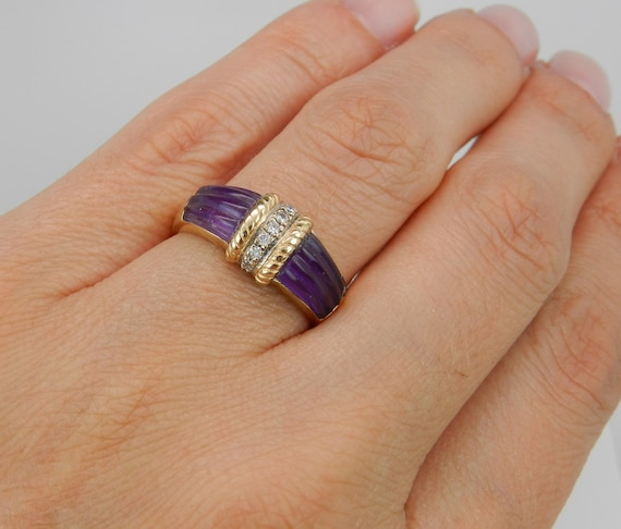 SALE 14K Yellow Gold Vintage Estate Diamond and Amethyst Cocktail Ring Band Size 7.5