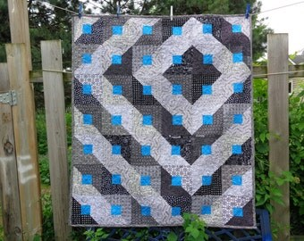 Optical Confusion Lap Quilt Black, White and Turquoise  0614-01