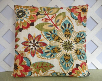 Floral Pillow Cover in Red Orange Teal Blue Green Ivory  / Orange Teal Pillow / Accent Pillow / Decorative Pillow / 18 x 18 Pillow