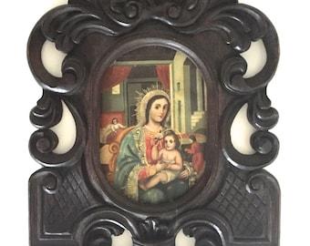 Vintage Virgin Mary Christ Icon