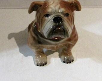 Air Brush Bull Dog Figurine Brown & White