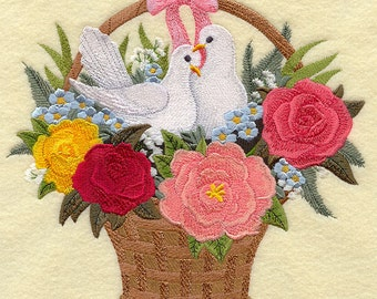 Lovebirds Basket Embroidered on Kona Cotton Quilt Block // Plain Weave Cotton Dish Towel // Also Available on Other Items