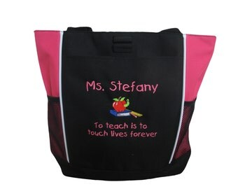 Tote Bag Personalized Teacher Aide Counselor Apple Books Worm To Teach is to Touch Lives Forever Pink Royal Blue Lime Green Red Hunter