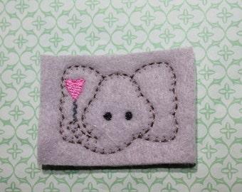 Elephant w/ heart balloon feltie, Elephant head feltie, on lt. gray felt, felt stitchie 4 pcs for hair accessories, scrap booking or crafts