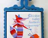 Mid Century Kitsch Cast Iron and Ceramic Tile Trivet, Fox & Chicken, Made in Japan