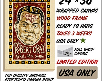 "large 24""x36"" - stretched on wood frame - archival quality - Robert Cray concert poster -  Blues art print - huge, framed"