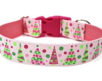 "Holiday Dog Collar 1.5"" Pink Christmas Dog Collar SIZE MEDIUM"
