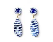 Blue Eye Hand Pained Earrings #2