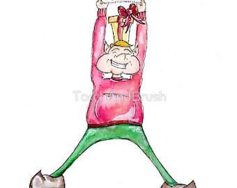 A Present Surprise - OOAK Watercolor Christmas Elf Painting