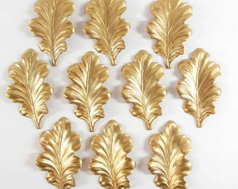 Brass Leaves, Large Leaf Stampings, Wavy Leaves, Jewelry Supplies, Antique Brass, Raw Brass, 58 x 33mm, Bsue Boutiques, Item08224