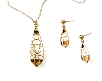 Victorian Trelis Pendant Necklace Earrings Set 14k Gold