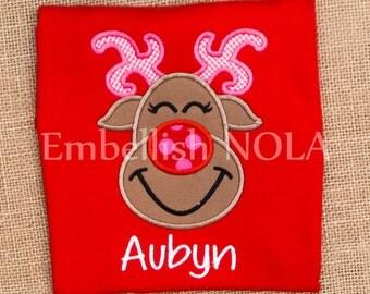 Girly Reindeer Applique Red or White Shirt or Bodysuit Christmas Shirt Reindeer Shirt
