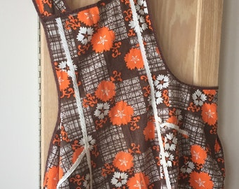 Homemade Retro Full Apron in Brown and Orange Print